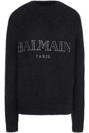 BALMAIN Crystal-embellished angora-blend sweater