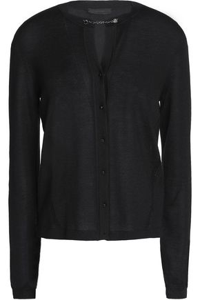 BELSTAFF Chain-embellished cashmere and silk-blend cardigan