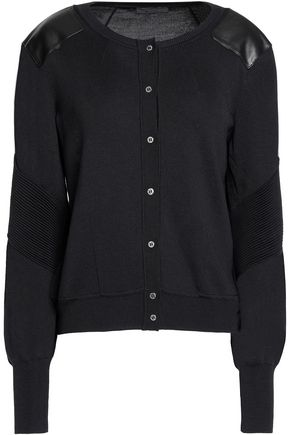 BELSTAFF Leather-paneled silk cardigan