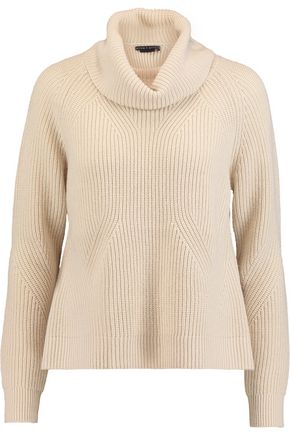 ALICE + OLIVIA Nettie draped cable-knit wool and cashmere-blend sweater