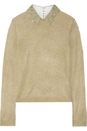 ALICE + OLIVIA Dia embellished metallic knitted sweater