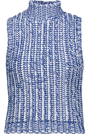 ALICE + OLIVIA Tomi cable-knit cotton-blend turtleneck top