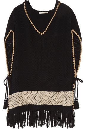 ALICE + OLIVIA Brixton fringed waffle-knit cotton-blend hooded poncho