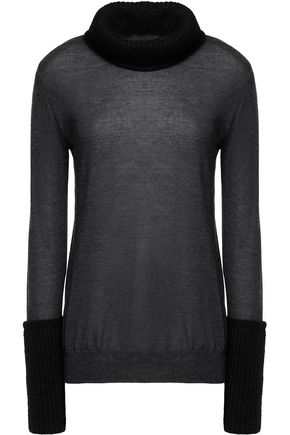 BELSTAFF Walbrook mohair-blend paneled cashmere and silk-blend turtleneck sweater