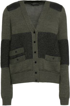 BELSTAFF Langham leather-paneled wool-blend cardigan