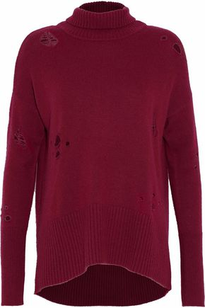 AUTUMN CASHMERE Distressed cashmere turtleneck top
