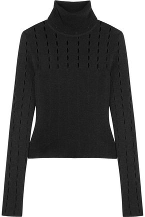 ALICE + OLIVIA Cathie cutout stretch-knit turtleneck top