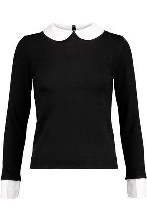 ALICE + OLIVIA Porla cotton-blend poplin-trimmed wool sweater