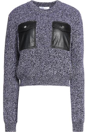 CARVEN Faux leather-paneled marled wool sweater