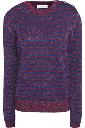 CARVEN Glittered striped merino wool-blend sweater