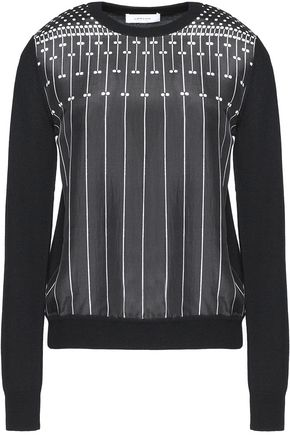 CARVEN Printed silk-crepe and wool sweater