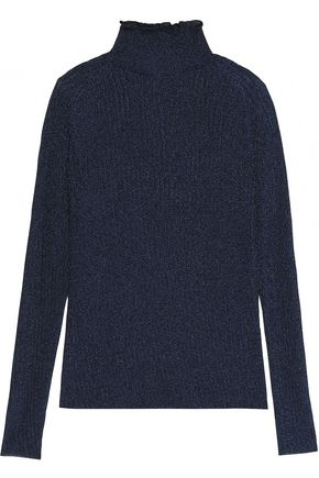 CARVEN Metallic ribbed-knit turtleneck sweater