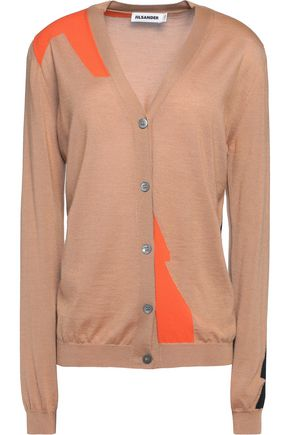 JIL SANDER Color-block cashmere-blend cardigan