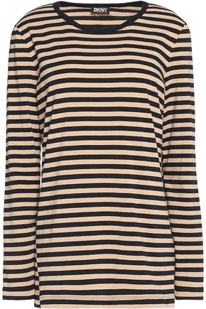 DKNY Striped cotton-blend jersey top