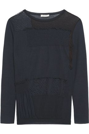 NINA RICCI Paneled cotton-blend sweater