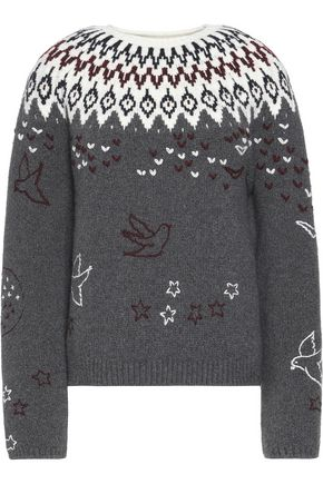 NINA RICCI Intarsia wool-blend sweater