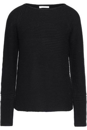 DUFFY Ribbed-paneled wool and cashmere-blend sweater