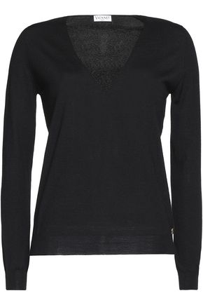 VIONNET Lace-paneled fleece wool, silk and cashmere-blend sweater
