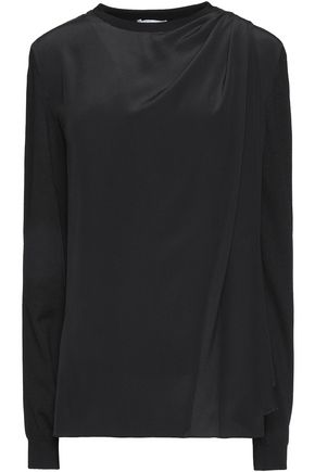VIONNET Layered silk-paneled wool, cashmere and silk-blend sweater