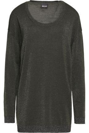 JUST CAVALLI Metallic stretch-wool blend sweater
