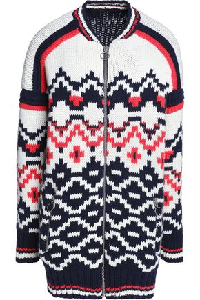 MAJE Wool-blend jacquard-knit cardigan