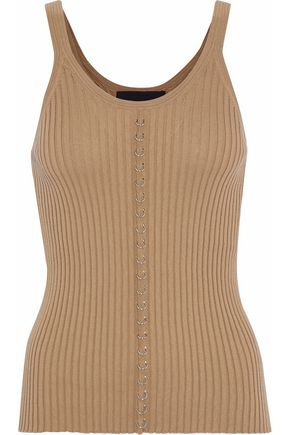 ALEXANDER WANG Embellished ribbed-knit cotton top