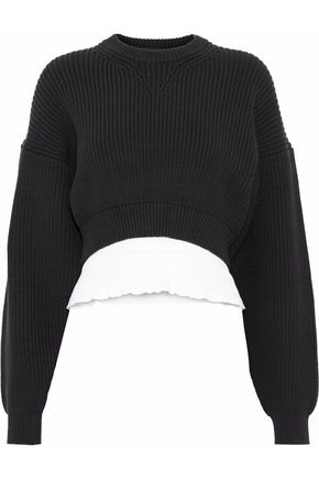 ALEXANDER WANG Layered cotton-blend sweater