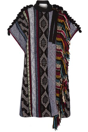 CHLOÉ Fringed embellished wool-blend poncho