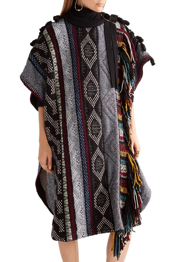 Fringed embellished wool-blend poncho | CHLOÉ | Sale up to 70% off | THE  OUTNET