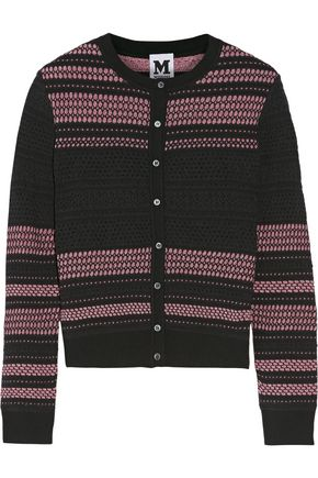 M MISSONI Glittered tulle-trimmed open and stretch-knit cardigan