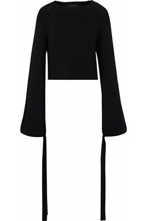 ELLERY Cropped ribbed-knit sweater