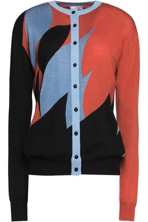 VIONNET Color-block wool, cashmere and silk-blend cardigan