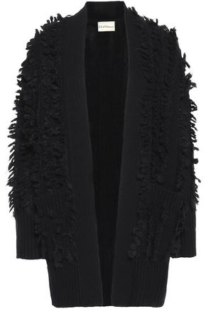 DKNY Fringed wool-blend cardigan