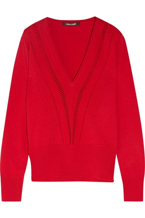 ROBERTO CAVALLI Open knit-trimmed wool-blend sweater