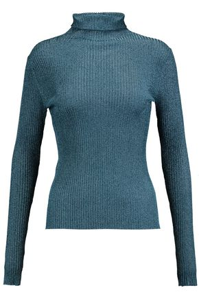 TIBI Metallic ribbed-knit turtleneck sweater
