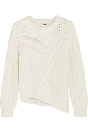 MM6 MAISON MARGIELA Asymmetric cable-knit cotton sweater