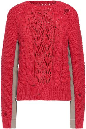 MM6 MAISON MARGIELA Rib-paneled open-knit sweater