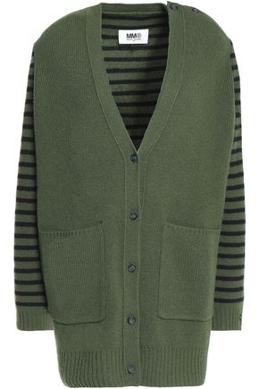 MM6 MAISON MARGIELA Striped ribbed wool cardigan