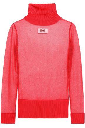MM6 MAISON MARGIELA Ribbed-trimmed stretch-knit turtleneck sweater