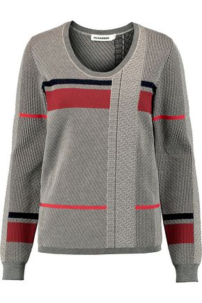 JIL SANDER Striped houndstooth wool-blend sweater