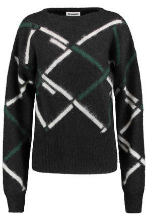JIL SANDER Jacquard-knit mohair-blend sweater