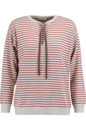 BRUNELLO CUCINELLI Striped chain-embellished wool, cashmere and silk-blend sweatshirt