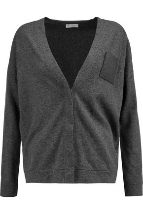 BRUNELLO CUCINELLI Chain-trimmed wool, cashmere and silk-blend cardigan