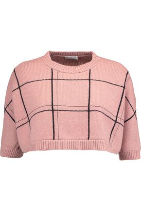 BRUNELLO CUCINELLI Cropped checked cashmere sweater