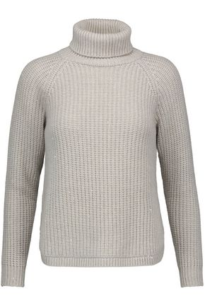 BRUNELLO CUCINELLI Sequin-embellished ribbed wool-blend turtleneck sweater