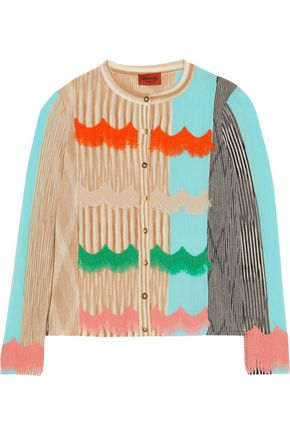 MISSONI Felt-trimmed wool-blend cardigan