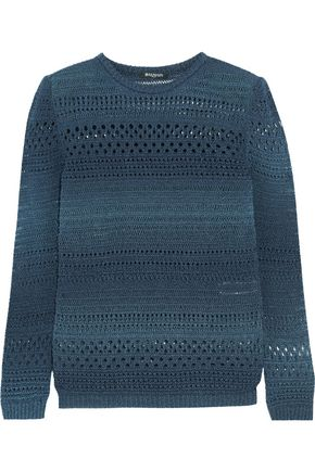 BALMAIN Metallic open-knit cotton-blend sweater