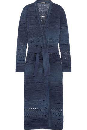 BALMAIN Metallic belted cotton-blend open-knit cardigan