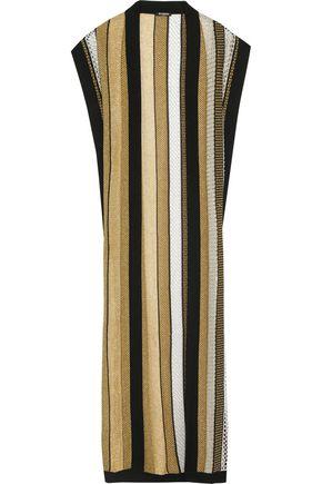 BALMAIN Paneled metallic open-knit cardigan