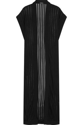 BALMAIN Striped stretch-knit cardigan